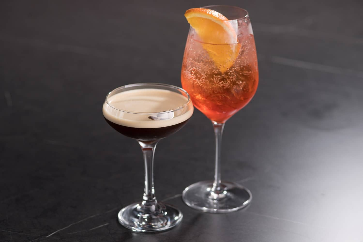 Espresso Martini and Aperol cocktails at Saros Bar in Moonee Ponds