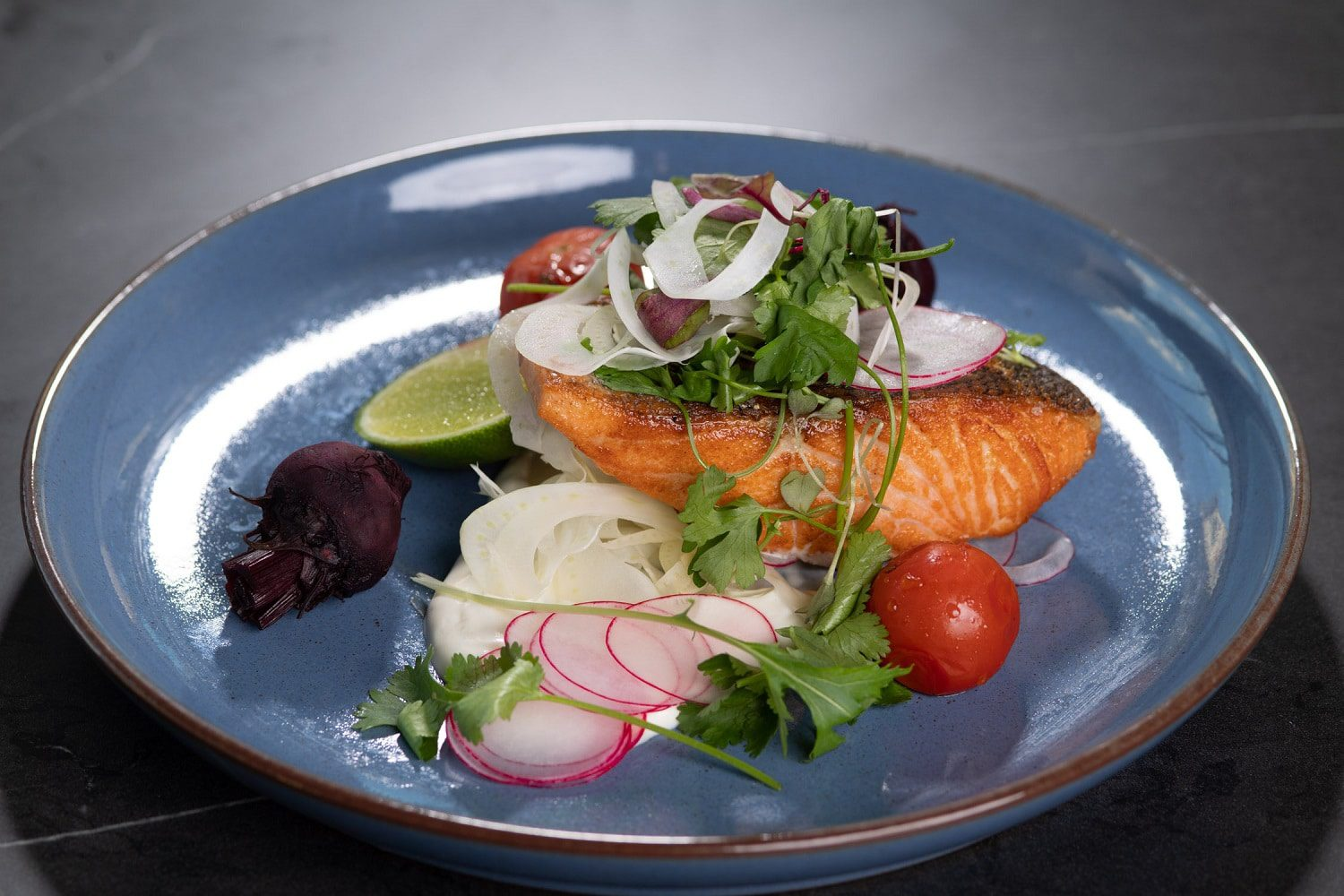 Salmon dish at Saros Bar and Dining in Moonee Ponds